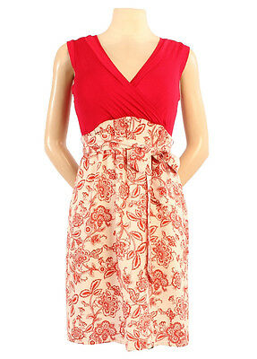 New Japanese Weekend Maternity Nursing Red Colorblock Sleeveless Front Tie Dress