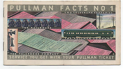 """1930s Pullman Railroad Booklet Number One """" Pullman Facts """""""