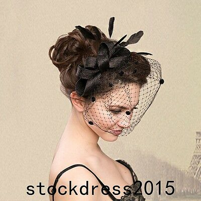 2016 Church Derby Cocktail Feather Wedding Bridal Hat Tulle Headband Black Hot