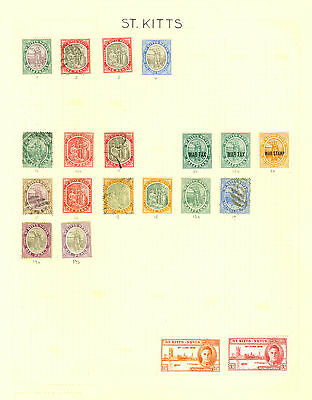 St Kitts. Mint & used collection on 3 album leaves