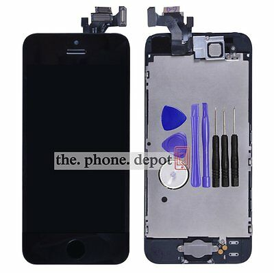 For iPhone 5 LCD Display Touch Screen Digitizer Assembly HomeButton Camera Black