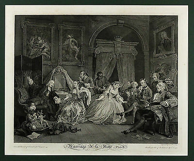 1822, after W HOGARTH | Marriage à-la-MODE, Plate IV | original large ENGRAVING