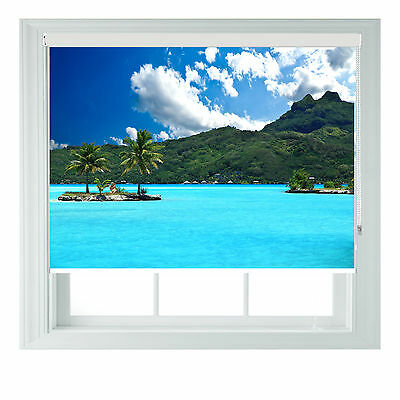 Tropical Sea scenic themed black out roller blind various sizes rollo