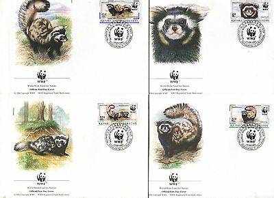 Kazakhstan 1997 WWF Marbled Polecat  Set of 4 FDC