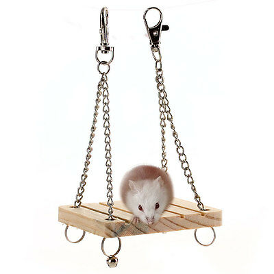 Wooden Swing with Bell Sports Cute Toy for Hamster Mouse Gerbil