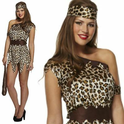 Ladies Cave Girl Fancy Dress Costume Outfit Leopard Animal Print Sexy Cavewoman