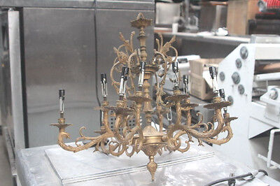 Cast Iron Chandelier made in Spain OLD / Antique very ornate / detailed