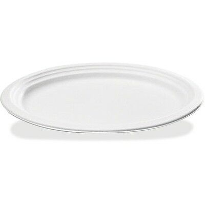 Savannah Supplie Inc. Bagasse Oval Plate, 10-1/4 In. x 7-3/4 In., White, 125/Pac