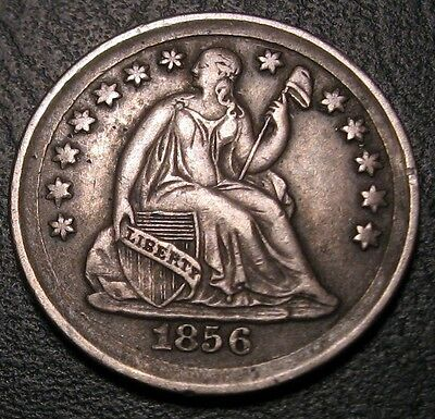 Old Us Coins Rare 1856 Highgrade Liberty Seated Half Dime Beauty