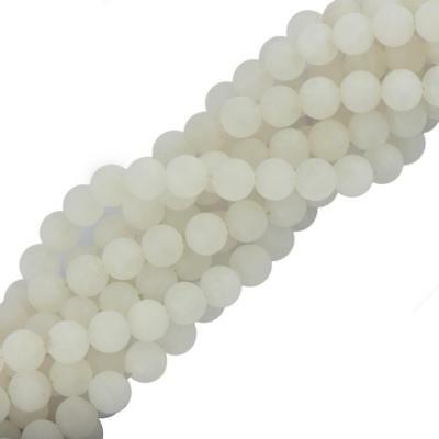 """6mm 8mm Natural White Jade Gemstone A Genuine Faceted Loose Beads 15"""" Jewelry"""