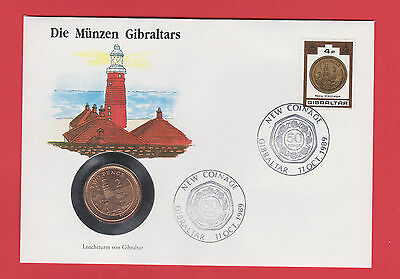 Gibraltar 2p TWO 2 PENCE 1990 BU Lighthouse SEALED COIN Stamps Cover FDC GRADE 2