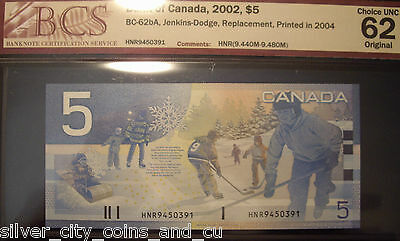Canada BC-62bA 2004 $5 Replacement HNR9450391 - BCS ChUnc 62