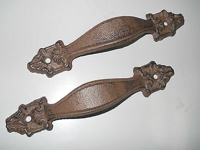 4 Large Cast Iron Antique Style FANCY Barn Handle Gate Pull Shed Door Handles #5