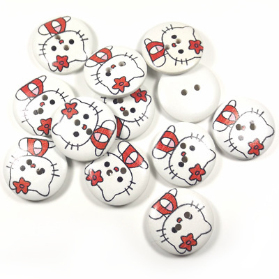 5 Boutons Ronds en Bois Chat Kitty 23mm - 2 Trous - Couture Scrapbooking