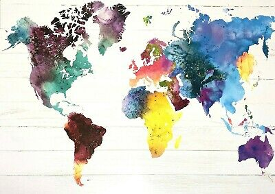 World MAP In Water Colours POSTER (61x91cm) New Wall Art Watercolour Home Decor