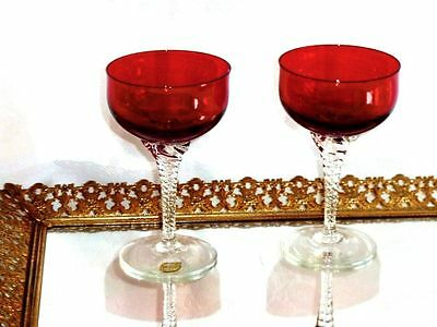 Fabulous Vintage Ruby Red Crystal Cordial Glasses Bohemia.