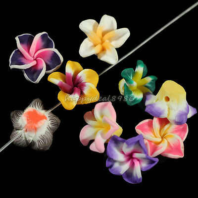 80pcs Pretty Mixed Polymer Fimo Clay 5-leaves  Flower Spacer Beads 15mm