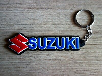 SUZUKI Keychain Keyring Blue Black Rubber Motorcycle Car Collectible Gift New