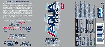 AquaHydrate Electrolyte Enhanced Water / Ph9 Plus, 16.9 Ounce Pack of 24