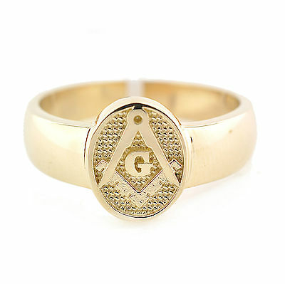 NEW Solid 10K Gold Masonic Ring Master Mason Freemason Masonry Solid Back