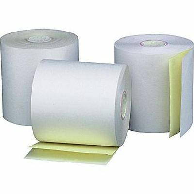 "3 Pack 3"" x 90' 2-ply Carbonless White/Canary Receipt Printer Roll Paper"