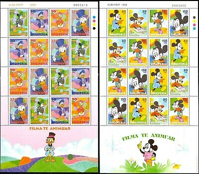 Two Different Disney Sheets From Albania - Mint Never Hinged - Stuart Katz