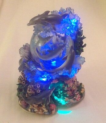 "Dolphin 10"" Snow Globe MOTION, LIGHTED & MUSICAL Tune OVER THE WAVES 8 Dolphins"