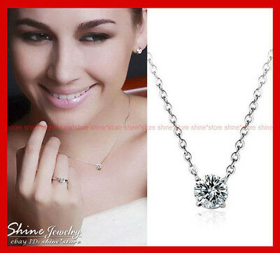 18K White Gold Filled Round 1.5Ct Solitaire Simulated Diamond Necklace Pendant