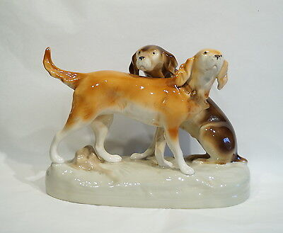 Vintage Pair Royal Dux Hunting Dogs Figurine, ca. 1930  (# 5791)
