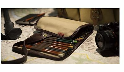 Pencil Derwent Canvas Wrap Storage Capacity Artist Accessory Pocket Unrolls Case