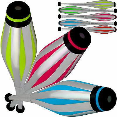 Set Of 3 Jac Products Circus Stage Fluorescent UV Juggling Clubs Silver Handles