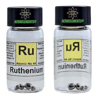 >~0.5g Ruthenium metal element 44 shiny pellets 99,995% in labeled glass vial