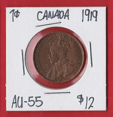 1919 Canada Large One Cent Penny Coin Almost Uncirculated AU/UNC  7676