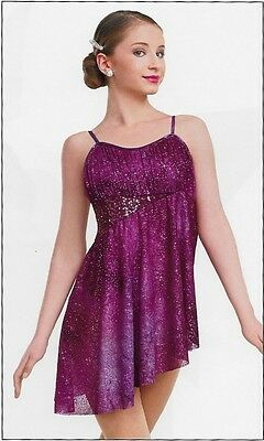 Perfect Day Teal Blue Sparkle Lyrical Contemporary Dance Dress Curt. Call AM LC