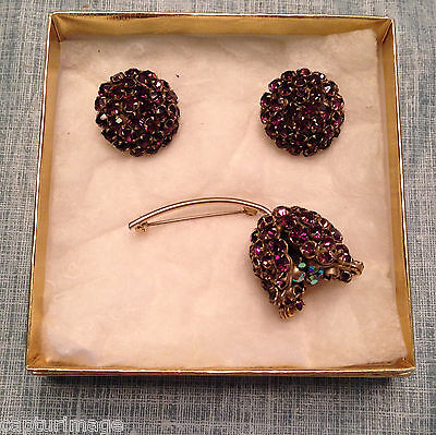 3-piece Vintage Earring and Brooch Tulip Set in Amethyst & Iridescent Crystals