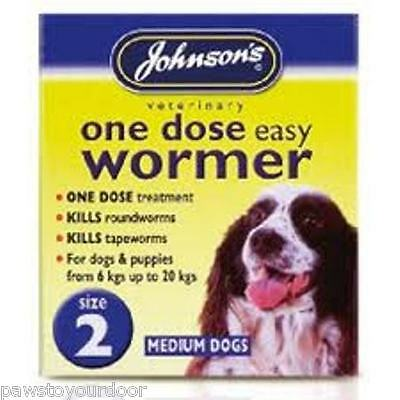 Medium dog puppy wormer worming tablets johnsons size 2