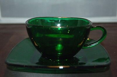 Anchor Hocking - Forest Green - Charm - Square Glass Cup & Saucer