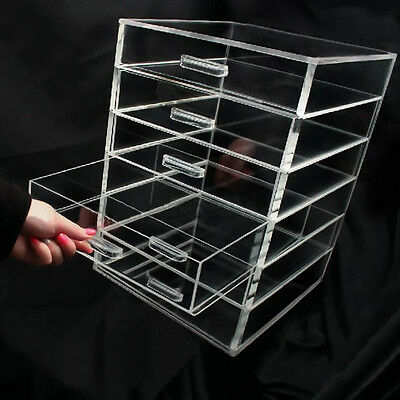Clear Acrylic Make up Box Earring Organiser Cosmetic Display Stand Storage Case