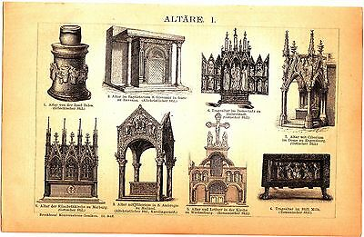 1889 OLD CHURCH ALTARS, RELIGIOUS  Antique Engraving Lithograph Print