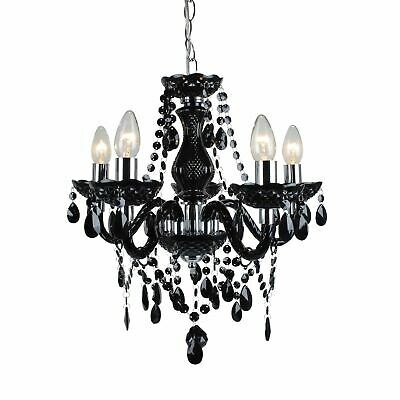 Marie Therese Traditional Black & Chrome Ceiling Fitting Chandelier - 5 Light