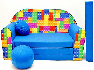 Childrens sofa bed, Fold Out Sofa Foam Bed for children + free pillow and pouffe