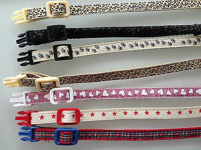Handmade Cat / Kitten Safety Collar With Bell - Choose Size