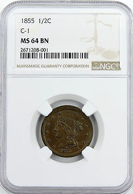 1855 Braided Hair HALF CENT 1/2C. MS 64 BN by NGC  2671208-001