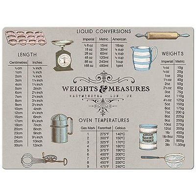 WEIGHTS and MEASURES Glass Worktop Saver CHOPPING BOARD 40x30cm