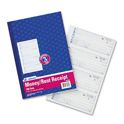 Adams Business Forms Receipt Book, 7-5/8 x 11, Three-Part Carbonless, 100 Forms