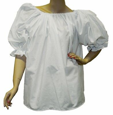 Gypsy Blouse White Costume Adult Women's Short Sleeve Puffy Renaissance
