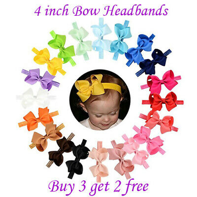 """4"""" Baby Girls Hairband Bow Soft knot Elastic Band Headband Bows Hair Accessories"""