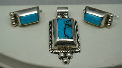 Sterling Silver Mexico Geometric Earring & Pendant Set with Turquoise Stones 925