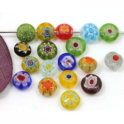 50/100PCS Charm Assorted Mixed Flat Round Millefiori Loose Spacer Beads 6mm