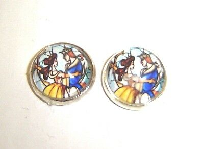 Beauty And The Beast Glass Dome Silver Stud Earrings Tale As Old As Time